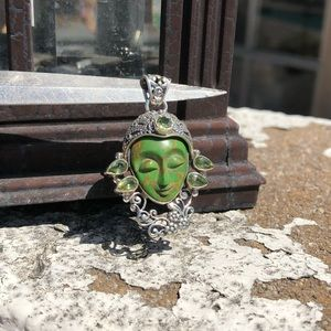Jewelry - Face Turquoise Green Sterling Silver Pendant